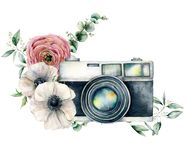 Watercolor card composition with camera and anemone, ranunculus bouquet. Hand painted photographer logo with flower. Illustration isolated on white background stock image
