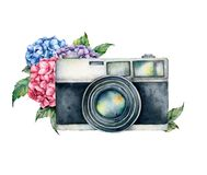 Watercolor card composition with camera and flower bouquet. Hand painted photographer logo with anemone and ranunculus. Flowers isolated on white background stock image