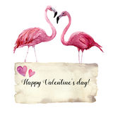 Watercolor card with couple of flamingo and Happy Valentine`s Day inscription. Exotic hand painted bird illustration and Royalty Free Stock Photo