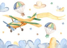 Watercolor card with cute airplane and clouds. vector illustration