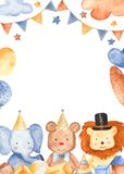 Watercolor card with cute animals. royalty free illustration