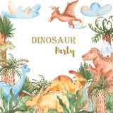 Watercolor card with cute cartoon dinosaurs. stock illustration