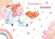 Watercolor card with cute childish cartoon golden unicorn, rainbow. stock illustration