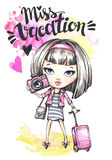 Watercolor card cute girl with camera and travel bag. Calligraphy words Miss Vacation. Hand drawn illustration. Watercolor card cute girl with camera and travel vector illustration