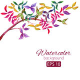 Watercolor card with decorative colorful flowers. And copy space Royalty Free Stock Photos