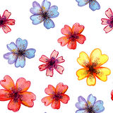 Watercolor card with decorative colorful flowers. And copy space Royalty Free Stock Image