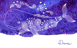 Watercolor Card Dreams with Beautiful Whale Stock Image