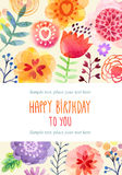 Watercolor card with flowers Royalty Free Stock Photos