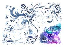 Watercolor Card with Follow Your Dream Lettering Stock Image