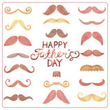 Watercolor card Happy Father's Day. Watercolor card with mustache and text Happy Father's Day Stock Images