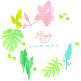 Watercolor card Happy summer. Tropical undergrowth with frogs and orchids Stock Image
