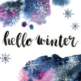 Watercolor card with Hello winter lettering and snowflakes. Season illustration on white background. For design or print.  Royalty Free Stock Photos
