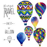 Watercolor card with hot air balloon. Hand drawn vintage collage illustration. Vector kids texture Stock Photos