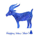 Watercolor card. Merry Christmas and Happy New Year card with watercolor goat stock illustration