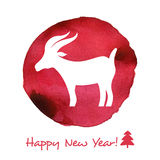 Watercolor  card. Merry Christmas and Happy New Year card with watercolor goat Royalty Free Stock Photo