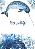 Watercolor card with oceanic mammals. royalty free illustration
