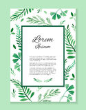 Watercolor card with place for your text and with  leaves and branches Royalty Free Stock Image