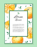Watercolor card with place for your text and with oranges and leaves Stock Photography
