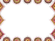 Watercolor Card With Red and Brown Oriental Ornament Royalty Free Stock Photography