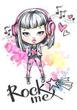 Watercolor card rock girl with headphones. Calligraphy words Rock Me. Hand drawn bright illustration. Watercolor card rock girl with headphones. Calligraphy Royalty Free Stock Photo