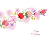Watercolor card with spring cherrys blossoms Stock Photos
