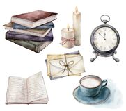 Watercolor card with vintage books, envelopes and cup of coffee. Hand painted stack of books, candle and table clock