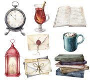 Watercolor card with vintage books, envelopes, mulled wine and cup of coffee. Hand painted lantern and table clock
