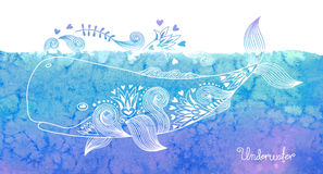 Watercolor card with whale Royalty Free Stock Images
