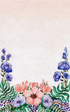 Watercolor Card with Wild Blue and Red Flowers. Berries and Green Leaves Stock Photos