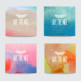 Watercolor cards set Royalty Free Stock Photo