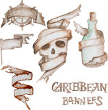 Watercolor caribbean banners. Old antique banners. Vector illustration. Watercolor tapes Royalty Free Stock Photo