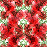 Watercolor carnation clove red flower seamless pattern texture Royalty Free Stock Images