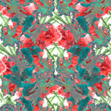 Watercolor carnation clove red flower seamless pattern texture Royalty Free Stock Photo