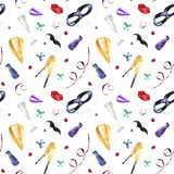 Watercolor carnival seamless pattern stock illustration