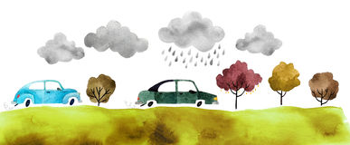 Watercolor cars. Beautiful cartoon cars  on white background. Hand drawn watercolor car with autumn trees and grass and clouds for your design Royalty Free Stock Photo