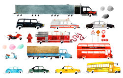 Watercolor cars. Big set of watercolor cars. Beautiful cartoon cars isolated on white background. Hand drawn watercolor cars for your design Stock Photo