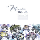 Watercolor cars horizontal border. Cartoon Monster Trucks frame. Colorful Extreme Sports background. 4x4. Off Road. Man. Watercolor cars horizontal border Stock Illustration