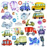 Watercolor cars, road signs and elements collection, illustration for kids