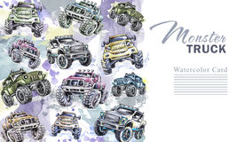 Watercolor cars vertical border. Cartoon Monster Trucks frame. Colorful Extreme Sports background. 4x4. Off Road. Man`s. Watercolor cars vertical border. Cartoon Vector Illustration