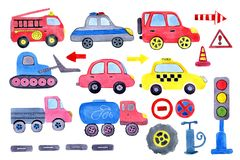 Watercolor cartoon car with road signs. Design of children`s clothes, books, scrapbooking, invitations, greetings stock illustration