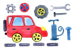 Watercolor cartoon car with spare parts. Design of children`s clothes, books, scrapbooking, invitations, greetings royalty free illustration