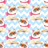 Cats, seamless pattern 7. Watercolor cartoon cats, seamless pattern Royalty Free Stock Photo