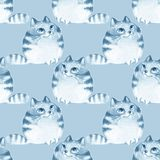 Watercolor cartoon cats, seamless pattern. Blue monochrome seamless pattern with cats Stock Photos