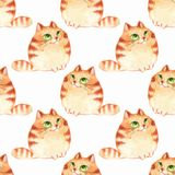 Watercolor cartoon cats, seamless pattern. Watercolor cartoon ginger cats, seamless pattern Stock Photo