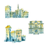 Watercolor cartoon houses. Stock Images