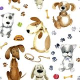 Watercolor cartoon illustration. Seamless pattern of cute cartoon dogs and theirs accessories. Watercolor seamless pattern. Different cartoon dogs and their play Royalty Free Stock Photography