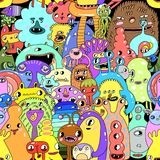 Watercolor cartoon monster seamless pattern illustration. Funny colorful background. Watercolor  cute cartoon monster seamless pattern illustration. Funny Royalty Free Stock Photos