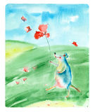 Watercolor cartoon mouse. Stock Photography