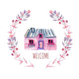 Watercolor cartoon private house inside the floral wreath in purple and pink shades. Hand painted isolated on a white background Stock Images