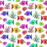 Watercolor cartoon seamless pattern marine life: fish, bubbles, corals and shells royalty free stock image